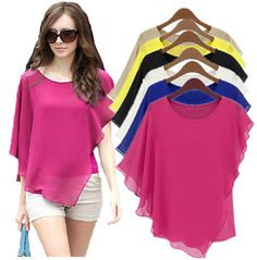 18 COLOR Plus size S-4XL 5XL Ladies Summer Chiffon Blouses & shirts blusas,Batwing sleeve ruffles women asymmetric casual shirts