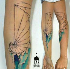 By Rodrigo Tas   Brazil   #Watercolor #Geometric #Tattoo #Fibonacci #Sacred