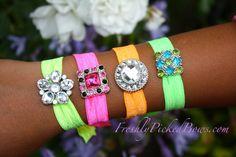 Set of 4 FOE Neon Bracelet with Rhinestone bling Acrylic Button