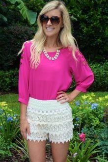 Ivory Crochet Shorts #sophieandtrey