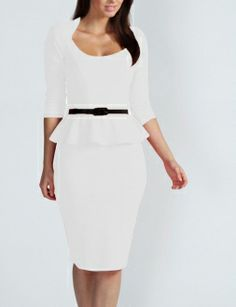 This White Long Sleeve Belted Peplum Midi Dress is glamorous and elegant with the sexy peplum detail and flattering skintight shape. The succinct and simple design eludes to a touch of class and elegance. The belt is included to accent sexy slim curves.