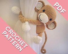 Monkey curtain tie back pattern, tieback, left or right side crochet pattern PDF instant download PATTERN