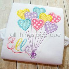 Heart Balloons Applique Design - SATIN Stitch (#597) - Valentine Applique Design…