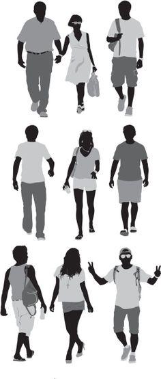 Vectores libres de derechos: Casual people on street