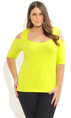 City Chic - BASIC COLD SHOULDER COLOUR TOP - Women's plus size fashion