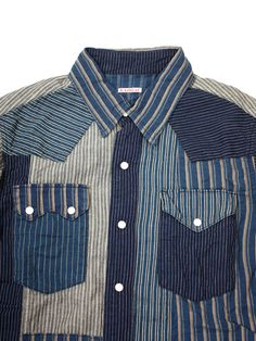 Patchwork shirt with contrasting stripe details