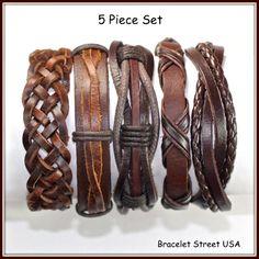5 Piece Handmade Leather Bracelet Set Leather by BraceletStreetUSA