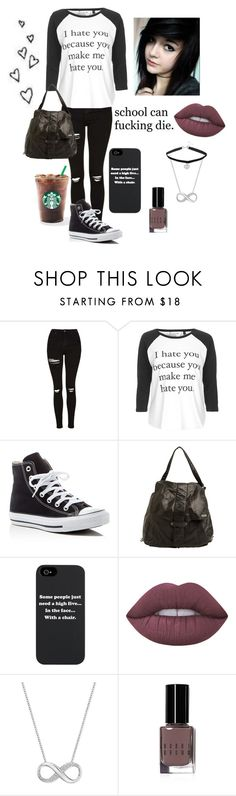 """""""Untitled #10"""" by shelbybauer ❤ liked on Polyvore featuring Topshop, Converse, RVCA, Lime Crime, Swarovski and Bobbi Brown Cosmetics"""
