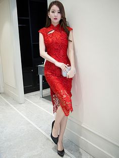 Midi Red Lace Qipao / Cheongsam Dress