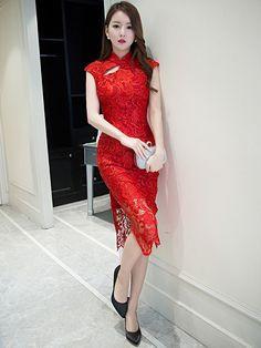 Midi Red Lace Qipao / Cheongsam Dress