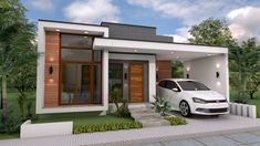 3 Bedrooms Home Design Plan - SamPhoas PlanModern House Style 3 Bedrooms and 1 Garage - Cool House ConceptsWith total floor area of 91 square meters, this modern house style has 3 bedrooms, two toilet and bath and 1 garage.Sketchup Modeling Home Plan House Design 3d, Bungalow Haus Design, Modern Small House Design, Small Modern Home, Modern Style Homes, Simple House Design, House Front Design, Small Contemporary House Plans, Style At Home