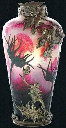 Art Nouveau - Vase 'Chardons' - Verre Opalin - Ernest Léveillé | JV