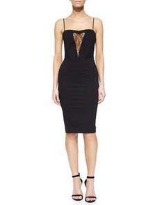 Lara Lace-Inset Sheath Dress, Black by Noam Hanoch at Neiman Marcus.