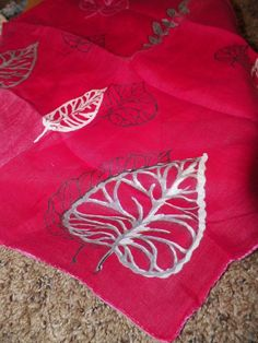 jean chapman red leaf  handkerchief by USRenewal on Etsy, $6.00