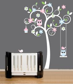 white swirl tree blue pink flower Tree owl trees leaf leaves Art Decals Wall Sticker Vinyl Wall Decal stickers living room bed baby room