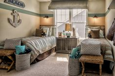 "Bedroom with twin beds in the ""Sea Isle Ranch"" model home by Christopher Companies in Millville by the Sea. #BeachHomes"