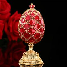 Buy QIFU Russia popular red faberge egg and miniature Castle in crafts for gifts Spring Crafts For Kids, Crafts For Kids To Make, Summer Crafts, Seed Bead Crafts, Cork Crafts, Fun Crafts, Faberge Eier, Fabrege Eggs, Objets Antiques