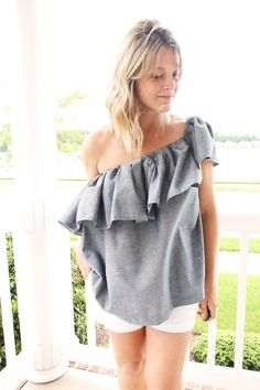 one shoulder ruffle blouse DIY