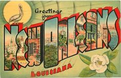 Large Letter Linen Postcard - New Orleans, Louisiana
