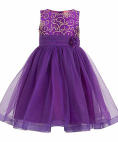 Girls purple embroidered party dress.  Satin Sash belt Tie-up for easy wearing & better fitting. Cotton lining at the bodice for skin comfort.