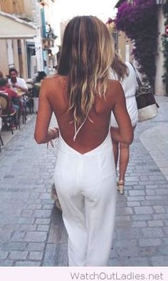 White jumpsuit backless