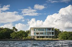 The facade of Casa Bahia by Alejandro Landes overlooking Biscayne Bay in Miami, Florida