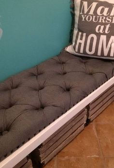 diy tufted bench cushion, reupholster