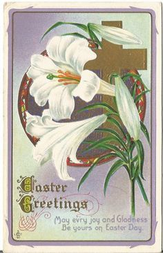 Antique Postcard Easter Lilies Cross by postcardsintheattic