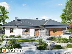 projekt Dom w różach lustrzane odbicie 2 Modern Bungalow Exterior, Modern Bungalow House, Bungalow House Plans, Village House Design, House Front Design, Modern House Design, Style At Home, Bungalow Haus Design, African House