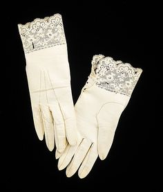 Leather wedding gloves made by Préville, French, A rare example made by the French glove manufacturer Préville, these wedding gloves are noteworthy for their design. The leatherwork replicating a lace pattern at the cuffs is an unusual and refined touch. Lace Gloves, Leather Gloves, Leather And Lace, Historical Costume, Historical Clothing, Antique Clothing, Vintage Accessories, Fashion Accessories, Victorian Fashion