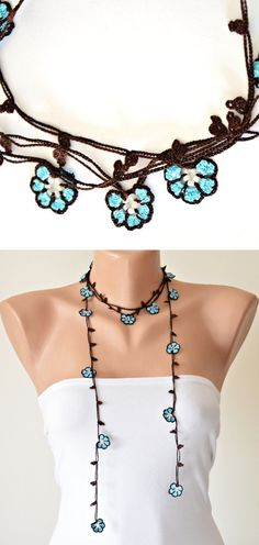Turquoise Wrap Necklace Oya Beaded Lariat Crochet Wrap