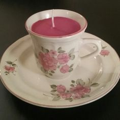 Handpoured Teacup Candle by ThriftyNiki on Etsy