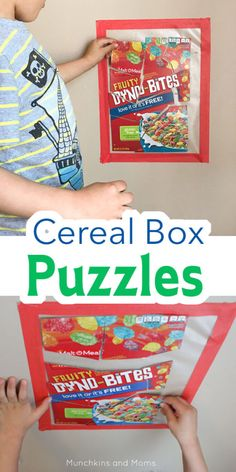 Cereal Box Puzzles Make simple puzzles from cereal boxes! This is a great morning activity for presc Toddler Fine Motor Activities, Toddler Preschool, Toddler Crafts, Activities For Kids, Abc Crafts, Toddler Classroom, Preschool Ideas, Creative Curriculum Preschool, Kindergarten Activities