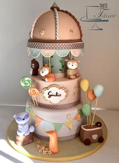 Carousel in the forest cake 2nd Birthday Party For Boys, Boys First Birthday Cake, Baby Birthday Cakes, Baby Boy Cakes, Baby Shower Cakes, Carousel Cake, Woodland Cake, Girl Birthday Decorations, Cake Gallery