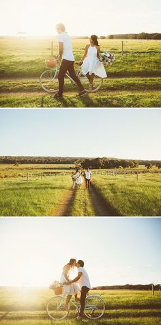 Romantic engagement shoot inspiration with a vintage bike | LiFe Photography | See more: http://theweddingplaybook.com/romantic-farm-engagement-shoot/
