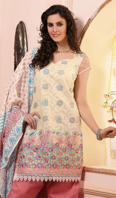 Cream Jaquard Cotton Embroidered Party Wear Dress Material.    Product Code : G3-LDM203386  Price : INR RS 1440