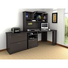 Bush Cabot Corner Desk with Hutch and Lateral File | Wayfair