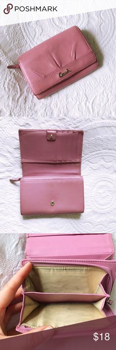 Vintage Coach Pink Wallet Super cute bubblegum pink vintage wallet from Coach! Please note that this is a vintage item and definitely shows signs of love. There's wear on the edges, and a pen mark on the side, and it's price is reflective of that. Very well made, like all Coach items. Worth restoring! (Note that Coach has restoration services, if you don't want to DIY.) Happy to answer any questions. Coach Bags Wallets