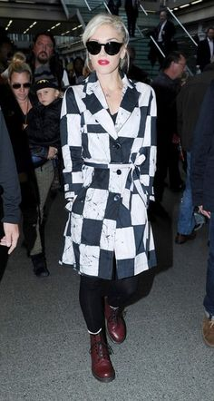 Gwen Stefani - a classic trench coat with graphic twist on checkered iteration. (Brand: Kelly Wearstler)