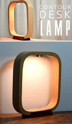 This lamp is made from plywood wrapped with iron-on veneer. I used led puck light, but any light can be used. It's also equipped with a toggle switch and a cool mahogany lamp base.