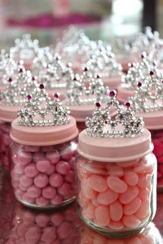 princess party goblet - spray paint baby food jar lids and glue a plastic crown on top, what a great idea for birthday party favors