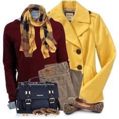 Pea Coat & Plaid/Tartan Scarf by tufootballmom on Polyvore featuring Gap, River Island, Dee Berkley, IBB, Just Female and Old Navy