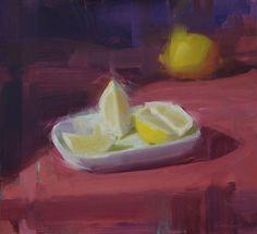 Still life w lemons, oil 2012, by David Shevlino, www.davidshevlino.com