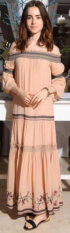 Who made Lily Collin's tan off the shoulder maxi dress? Lily Collins Style, Phil Collins, Rachel Zoe, Red Carpet Fashion, American Actress, Off The Shoulder, Carpet Styles, Street Style, Actresses