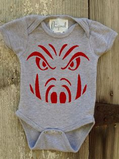 Razorback Face Bodysuit for Baby by IsaacOriginalDesigns on Etsy, $20.00                                                                                                                                                                                 More
