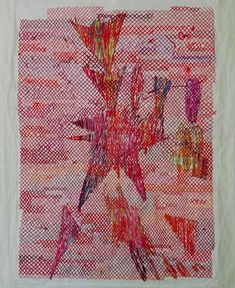 thread and paper Contemporary embroidery Contemporary Embroidery, Contemporary Art, Textile Art, Abstract Art, Cross Stitch, Textiles, Drawings, Paper, Red