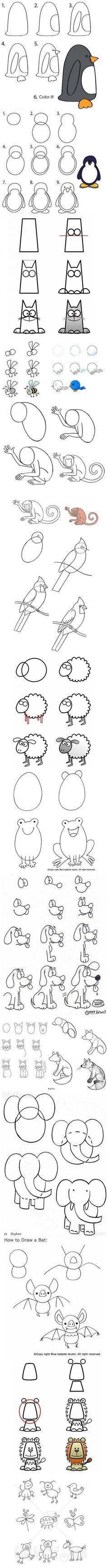 hoe+te+tekenen+van+diverse+dieren