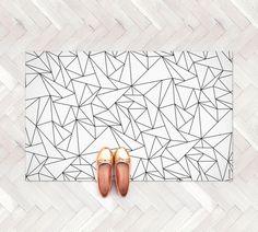 Geometric Triangles Rug / Minimalist Kids Room / Monochrome Rug / Geometric Kitchen Mat | PVC Rug | Kids Decor / Minimalist Nursery