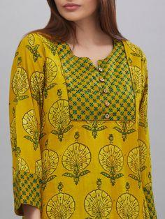 Stylish and fashionable kurti neck design - Simple Craft Ideas Churidar Neck Designs, Kurta Neck Design, Kurta Designs Women, Salwar Designs, Neck Designs For Suits, Dress Neck Designs, Blouse Designs, Printed Kurti Designs, Printed Sarees