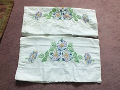 Collectible Pillowcase Floral Embroidery 30 x 18 Used Blue Green Gold Pink